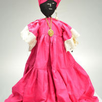 Handmade Doll from West Africa - Female in deep pink dress and headdress with necklace