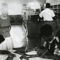 Rust College students in the library.